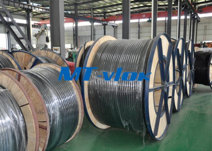 Multi Core Welded Stainless Steel Coiled Tubing TP304L / 316L Flame Retardant
